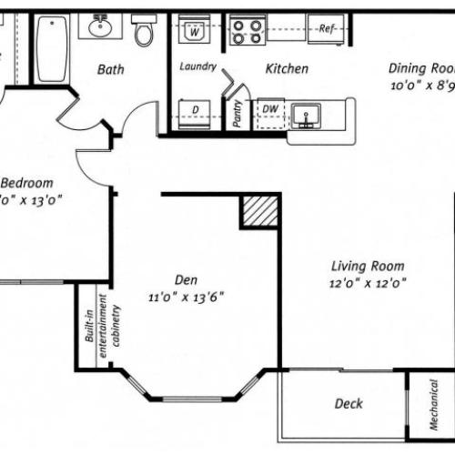 1 bedroom 1 bathroom A3 floor plan at Grand Reserve Orange Apartments in Orange, CT