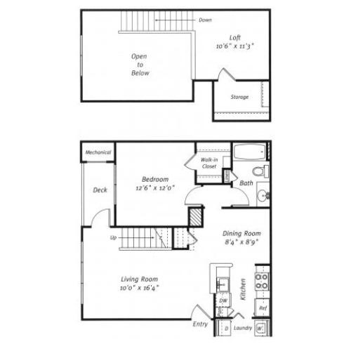1 bedroom 1 bathroom A4L floor plan at Grand Reserve Orange Apartments in Orange, CT