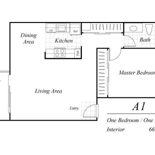 One bedroom one bathroom A1 floor plan at Baycliff Apartments in Richmond, CA