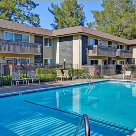 One of two sparkling pools at Wyndover Apartment Homes in Novato, CA