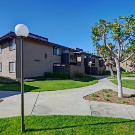 Lush landscaping at Westchester Park Apartments in Tustin, C
