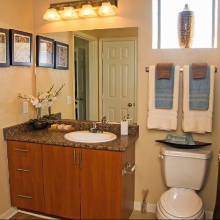 Bathroom at Lakeland Estates Apartment Homes in Stafford, TX