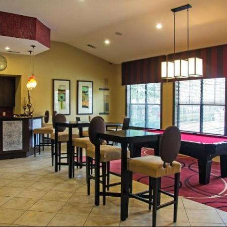 Billiards room at Lakeland Estates Apartment Homes in Stafford, TX
