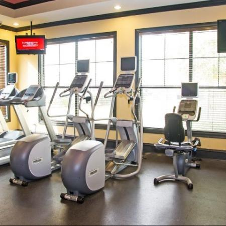 Fitness center at Lakeland Estates Apartment Homes in Stafford, TX