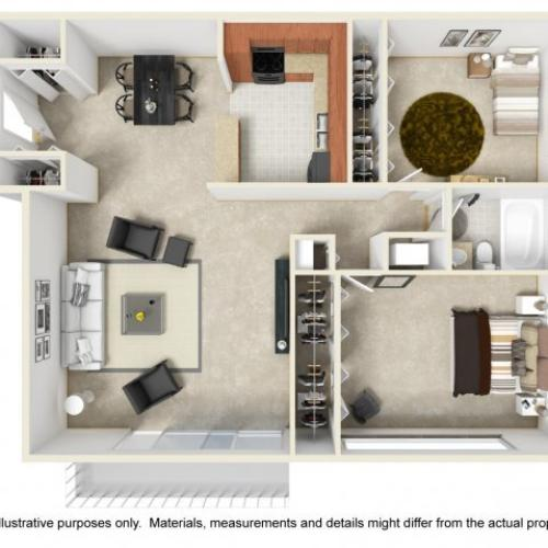 Two bedroom one bathroom B1 floorplan at The Harlowe Apartments in Arlington, VA