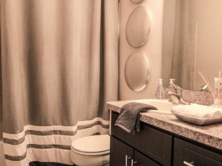 Upgraded bathrooms at Reafield Village Apartments in Charlotte, CN
