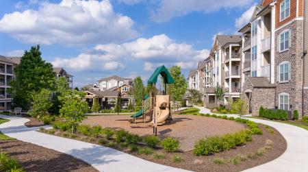 Kids' playscape at Atley on the Greenway in Ashburn, VA