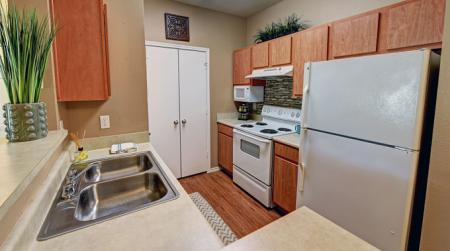 Kitchen with microwave at Sereno Park Apartments in San Antonio, TX