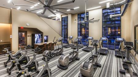 The Verdant Apartments fitness center with cardio equipment in San Jose, CA