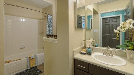 Bathroom at The Prato at Midtown Apartments in Atlanta, GA