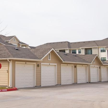 Detached garages at Lakeland Estates Apartments Homes in Stafford, TX