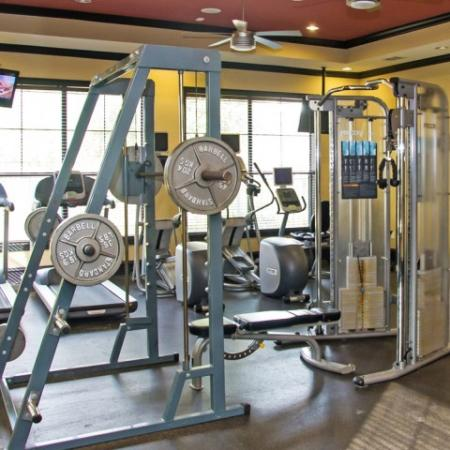 Strength training equipment at Lakeland Estates Apartment Homes in Stafford, TX