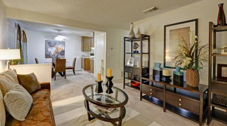 Living and dining areas at Avery Park Apartments in Fairfield, CA