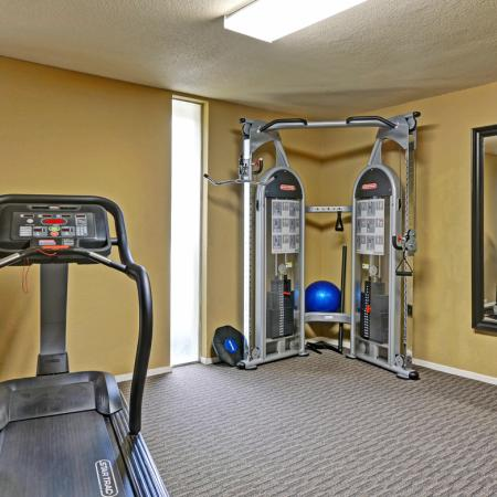 Fitness center at Turnleaf Apartments in San Jose, CA.