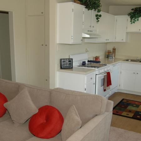 Kitchen and Living Room at Walden Glen Apartments in Buena Park, CA