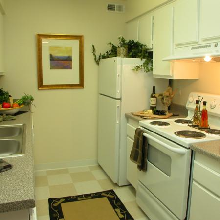 Kitchen at Timberleaf Apartments in Lakewood, CO