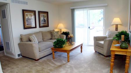 Living room at Timberleaf Apartments in Lakewood, CO
