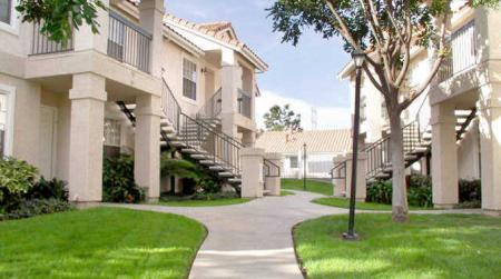 Walkway and landscaping at Westbrook Apartments in San Diego, CA