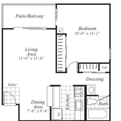 One bedroom one bathroom A3 Floorplan at Ridgemoor Apartment Homes in Lakewood, CO