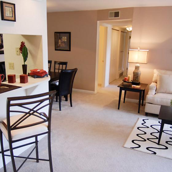 Living room at The Landings at the Preserve Apartments in Battle Creek, MI