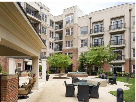 Exterior lounge area at Apartments at Arboretum in Cary, NC