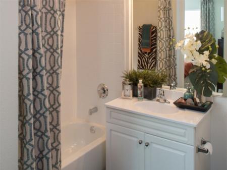 Spacious bathrooms at Grand Reserve Orange Apartments in Orange, CT.