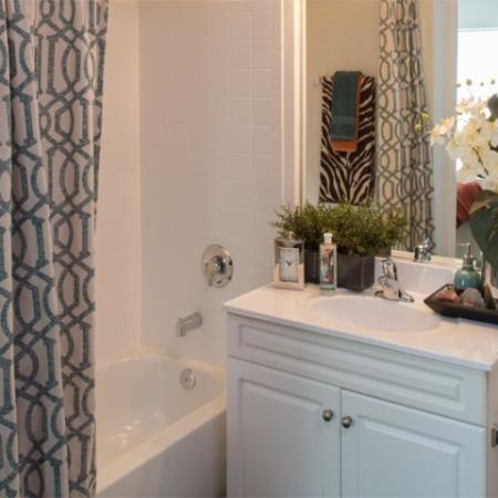 Spacious bathrooms at Grand Reserve Orange Apartments in Orange, CT.