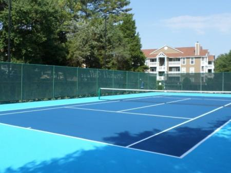 Lighted Tennis Courts at Reafield Village Apartments in Charlotte, NC
