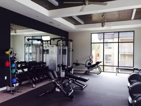 Free weight fitness center at Pulse Millenia in Chula Vista, CA