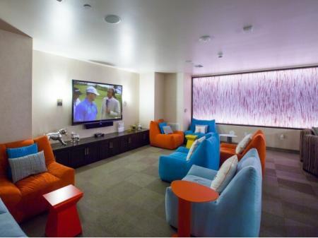 Indoor theater at Terrena Apartment Homes in Northridge, CA