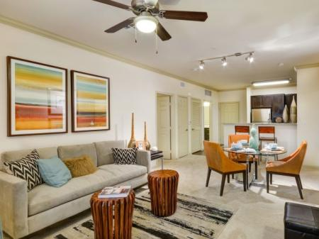 Living room at Terrena Apartment Homes in Northridge, CA
