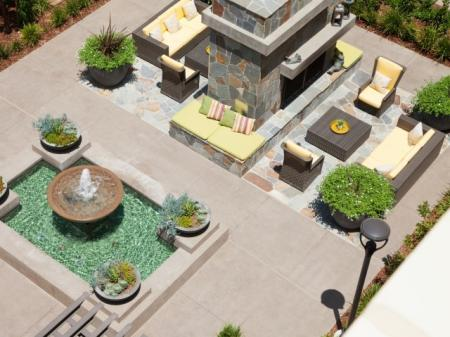 Outdoor fireplace at Terrena Apartment Homes in Northridge, CA