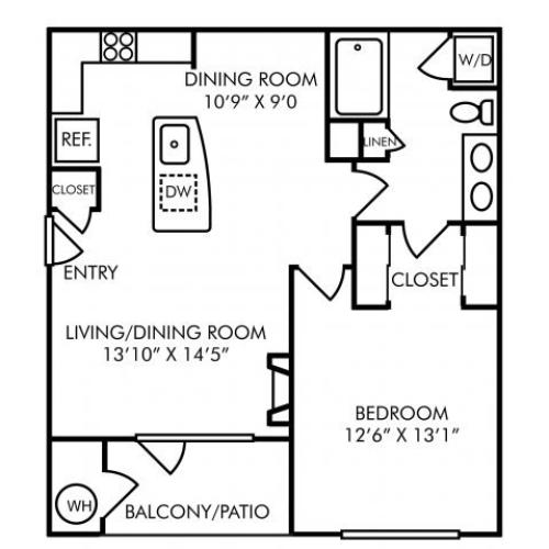 One bedroom one bathroom A2 floorplan at Westwind Farms Apartments in Ashburn, VA