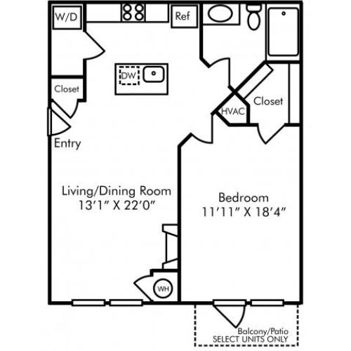 One bedroom one bathroom A4 floorplan at Westwind Farms Apartments in Ashburn, VA