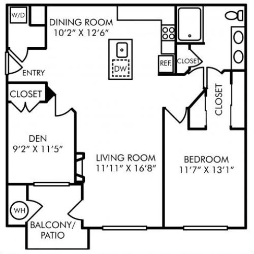 One bedroom one bathroom A7D floorplan at Westwind Farms Apartments in Ashburn, VA