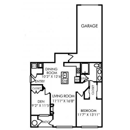 One bedroom one bathroom A8D floorplan at Westwind Farms Apartments in Ashburn, VA
