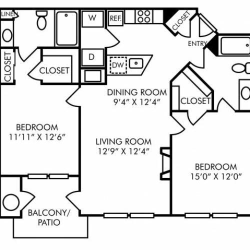 Two bedroom two bathroom B1 floorplan at Westwind Farms Apartments in Ashburn, VA