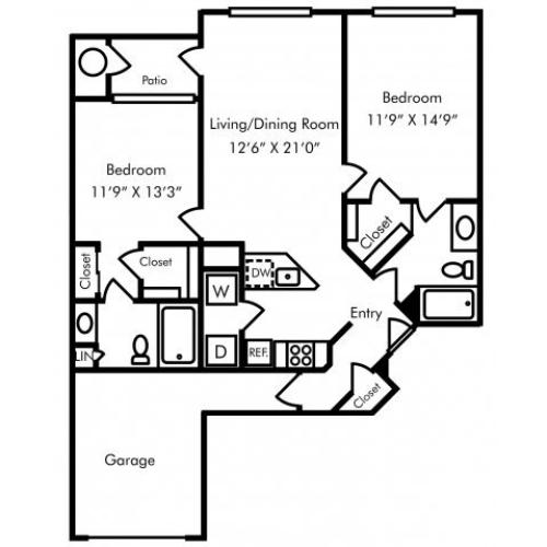 Two bedroom two bathroom B2 floorplan at Westwind Farms Apartments in Ashburn, VA