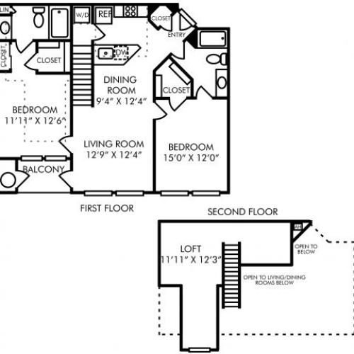 Two bedroom two bathroom B7L floorplan at Westwind Farms Apartments in Ashburn, VA