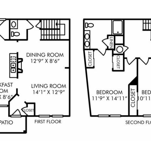 Two bedroom two and a half bathroom B8TH floorplan at Westwind Farms Apartments in Ashburn, VA