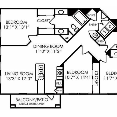 Three bedroom two bathroom C1 floorplan at Westwind Farms Apartments in Ashburn, VA