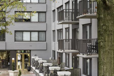 Exterior of The Harlowe Apartments in Arlington, VA