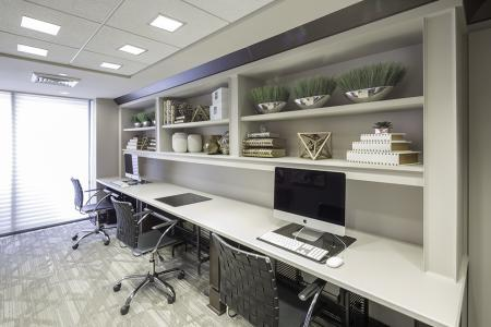 The business center at The Harlowe Apartments in Arlington, VA