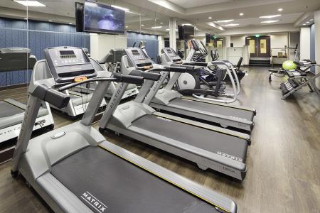 Fitness center at The Harlowe Apartments in Arlington, VA