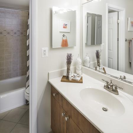 The bathrooms at The Harlowe Apartments in Arlington, VA