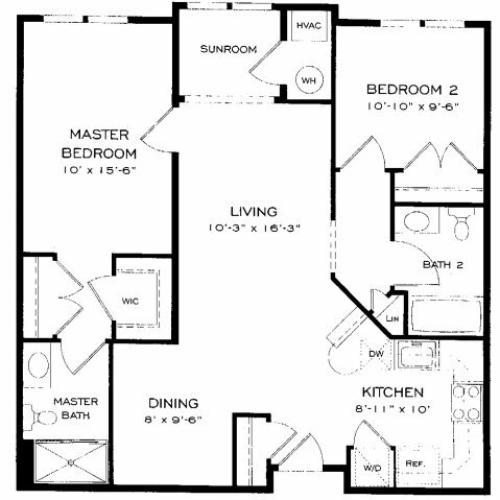 Two bedroom two bathroom B5 Floorplan at Dwell Vienna Metro Apartments in Fairfax, VA