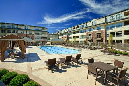 Swimming pool with cabanas at 597 Westport Aparments in Norwalk, CT