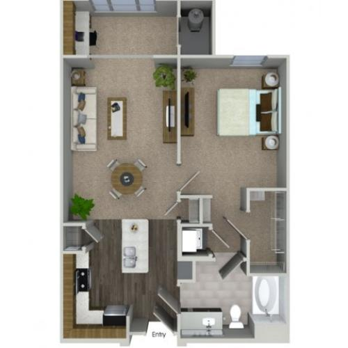A1S 1 bedroom 1 bathroom floorplan at Talia Apartments in Marlborough, MA