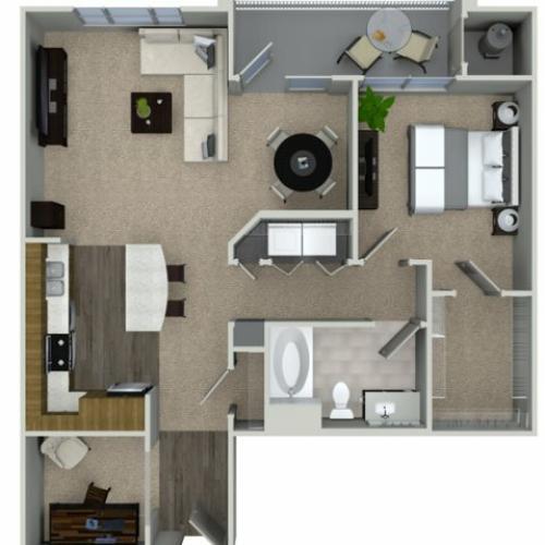 A3D 1 bedroom 1 bathroom floorplan at Talia Apartments in Marlborough, MA