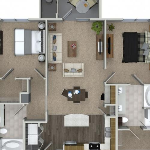 2 bedroom 2 bathroom B2 floorplan at Talia Apartments in Marlborough, MA